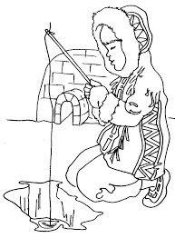 eskimo fishing in ice hole coloring pages download u0026 print