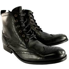mens motorcycle ankle boots mens h by hudson angus brogue leather lace up smart ankle boots uk