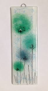 green flowers fused glass panel fusedglass wallart https www
