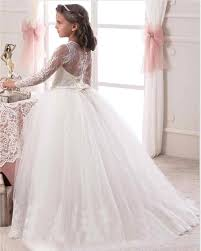 1st communion dresses wholesale 2016 ivory white gown sleeve flowers