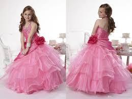 big pageant gowns flower halter wedding