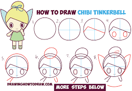 draw chibi tinkerbell disney fairy easy step