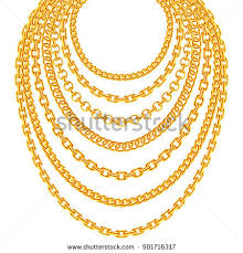 golden fashion necklace images Golden metallic chain necklaces vector set stock vector 501716317 jpg
