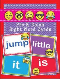 emoji dolch pre kindergarten pre k grade sight words flash cards