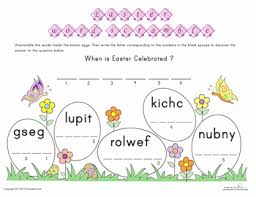 easter word scramble worksheets easter and word search