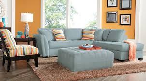 Light Blue Tufted Ottoman Blue Orange White Living Room Furniture Ideas Decor