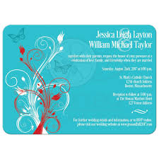 Red Wedding Invitations Wedding Invitation Turquoise Red White Floral Butterflies