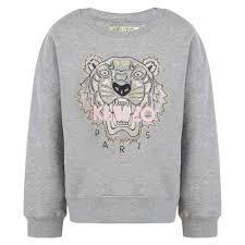 kenzo girls grey sweatshirt chocolate clothing