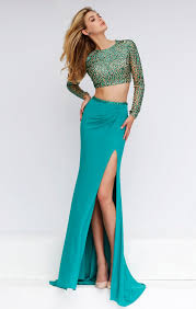 green crystal two piece sheer long sleeve chiffon prom dress