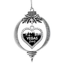 vegas strong cityscape open heart charm holiday ornament
