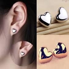 ear earings fashion women heart silver gold plated charm ear stud