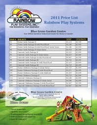 Rainbow Play Systems Blue Grass Nursery And Garden Centre 2011 Rainbow Price List By