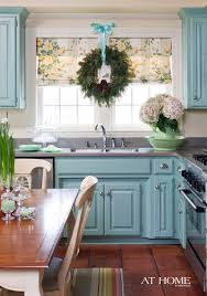 Blue Cabinets Kitchen by Outstanding Decorating Ideas With Kitchen Roman Shade U2013 Bamboo