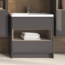 Open Shelf Bathroom Vanities Furniture Grey Wooden Modern Single Sink Vanity Cabinet With