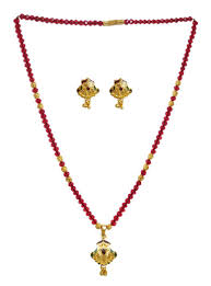 red crystal necklace set images Red crystal and gold plated bead necklace set jpg