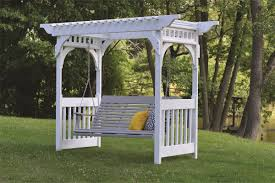 swing pergola berlin gardens vinyl swing arbor from dutchcrafters amish furniture