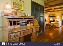 Antique Roll Top Secretary Desk by Roll Top Antique Desk In Parlour Inside Old Reconstructed 1850s