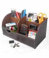Desk Organizer Box Leather Desk Stationery Organizer Pen Pencil Holder Box Storage