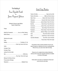sle of wedding reception program sle program templates formal event program template event