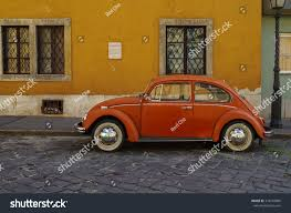 orange volkswagen beetle budapest hungary july 9 2015 orange stock photo 374249086