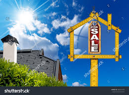 house sale sign wooden meter yellow stock photo 268241093
