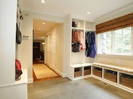 traditional mud room with built in bookshelf u0026 concrete tile