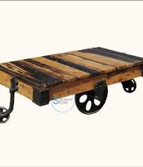 industrial coffee table with wheels train wheel crank table shakunt vintage furniture exporter