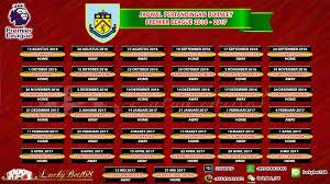 Jadwal Liga Inggris Jadwal Pertandingan Burnley Liga Premier Inggris 2016 2017