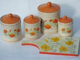 green canister sets kitchen retro orange poppies kitchen canisters set and breadboard 70s vintage