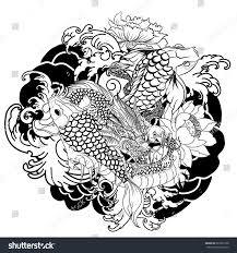 hand drawn dragon koi fish flower stock vector 683353198