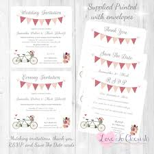shabby chic wedding invitations vintage tandem bike bicycle shabby chic wedding stationery range