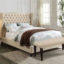 White Tufted Headboard And Footboard Shop Linen Tufted Bed On Wanelo