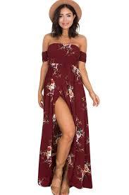 robe de mariã e bordeaux robe fleurie longue bordeaux ete fume epaule denudee fendue robe
