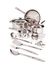 Stainless Steel Kitchen Set by Cooks Tools 19 Piece Stainless Steel Cookware Set Belk