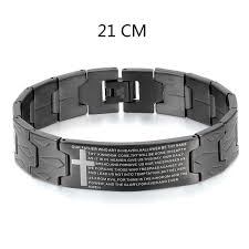 mens black steel bracelet images Men 39 s black silver stainless steel english lord 39 s prayer bible jpg