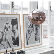 lampa szklana kula miedziana hk living nordic decoration home