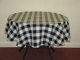 48 Round Tablecloth Black And White Gingham Check Round 58