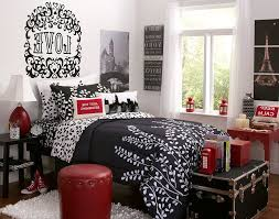 Home Decor Paris Theme Fantastic Red And Black Paris Bedroom 24 In Small Home Decoration