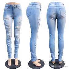 light blue skinny jeans womens 2018 holes ripped jeans womens skinny denim pants fashion trousers