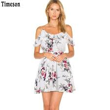 floral dresses timeson summer floral print women chiffon white dress ruffle