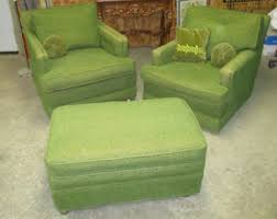 retro chair and ottoman green chair etsy