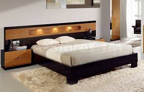 King Platform Bed With Upholstered Headboard by Lighted Bookcase Headboard Queen Midcentury Modern Heywood