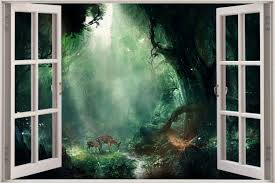 huge 3d window view fantasy bambi jungle wall sticker decal shop categories