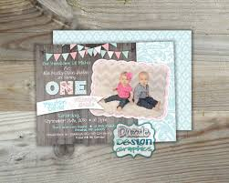 shabby chic twins double birthday invitation blue pink wood