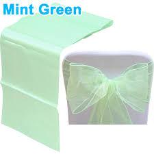 Mint Green Chair Sashes Organza Chair Sash Bow Satin Table Runner Wedding Anniversary