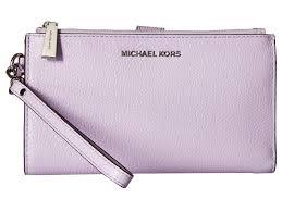 light pink michael kors wristlet lyst michael michael kors double zip wristlet in purple