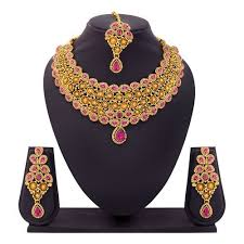 earring necklace set images Amazing traditional necklace set with maang tikka earring jpg