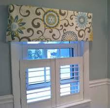 Valance Blue Window Topper Valance Mod Flowers Gray White Yellow Light