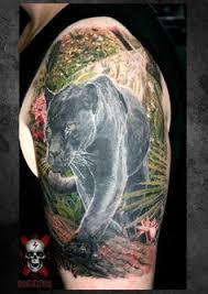 3d panther tattoos for men with blue eyes on upper arm 2 jpg 600