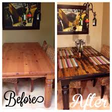 before and after diy kitchen table makeover for mi casa
